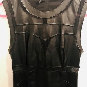 Guess Leather-Look Sleeveless Cut Out Mini Dress